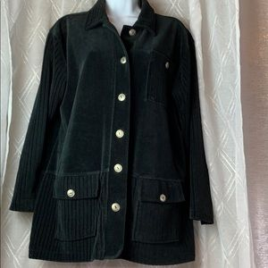 Long Sleeve Velour button front casual  jacket